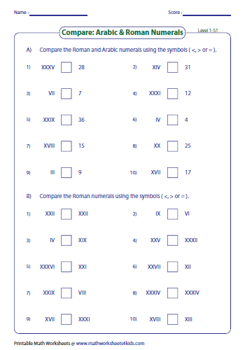 Roman Numerals Worksheet