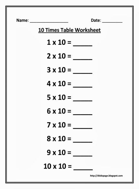 Multiplication Chart 10 Worksheet