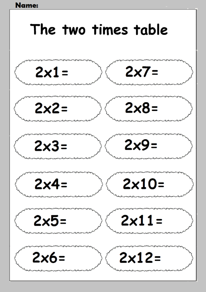 Multiplication Chart 2 worksheet