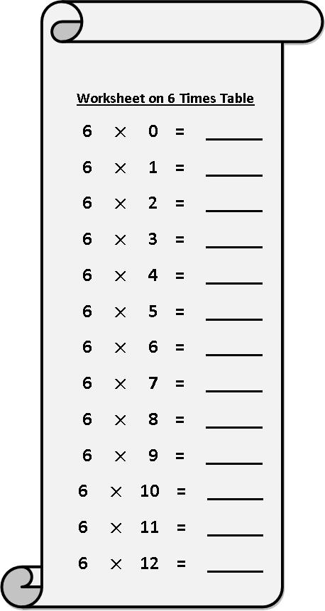 Multiplication Chart 6 Worksheet