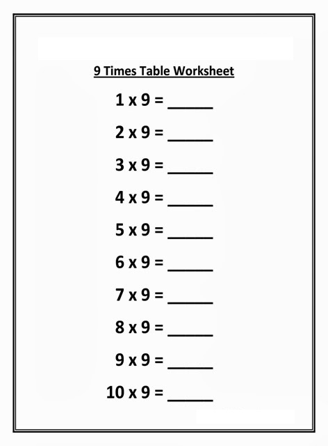 Multiplication Chart 9 Blank